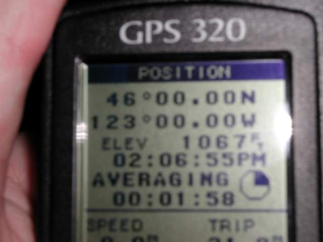 GPS reading at 46N 123W