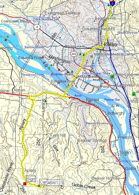 Track log on topographic map
