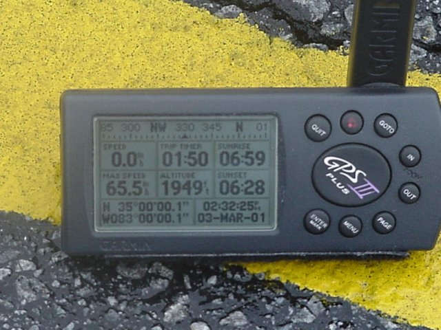 The GPS on the yellow line in middle of road