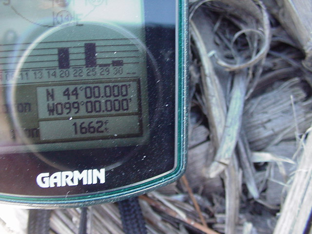The GPS reading at the site.