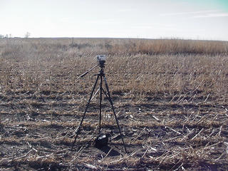 #1: With a camera tripod at 44N-99W-A view looking South-fence line in the distance.