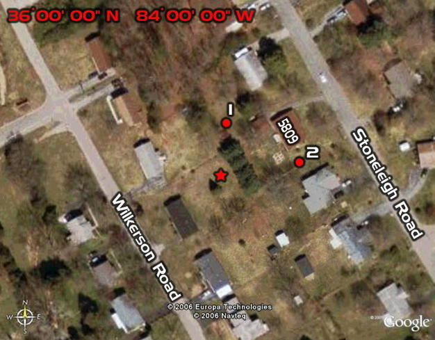 "Consulting the Google Earth © aerial photography prior to this attempt would have greatly simplified the visit! [The star indicates the ""ten zero"" spot in the backyard of 5816 Wilkerson.  The red circles mark the photographer's loca"