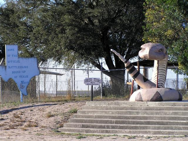 Rattlesnake statue in Freer, Texas, nearest town to confluence.