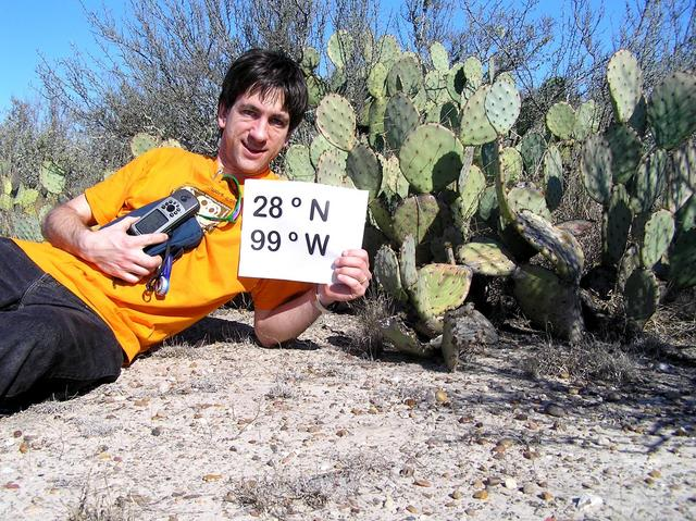 Joseph Kerski lounging amongst the prickly pear at 28 North 99 West.