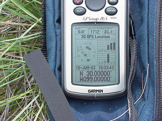 GPS receiver showing coordinates at 30 North 99 West.