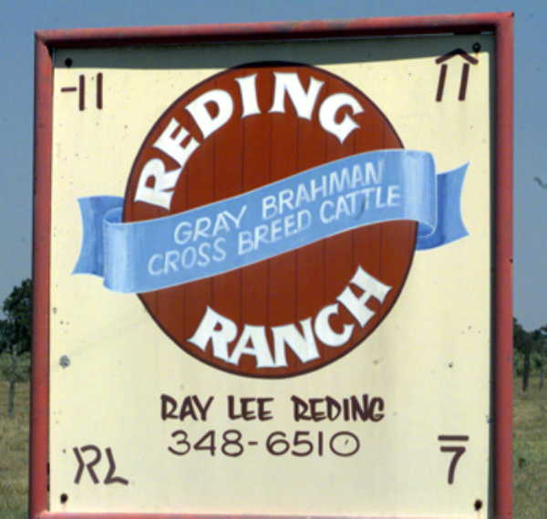 Sign at ranch entry, ca. 150 feet SE of the confluence
