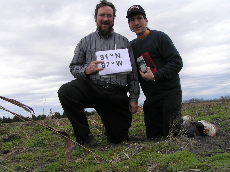 Brian Lehmkuhle and Joseph Kerski feeling centered in their field at 31 North 97 West.
