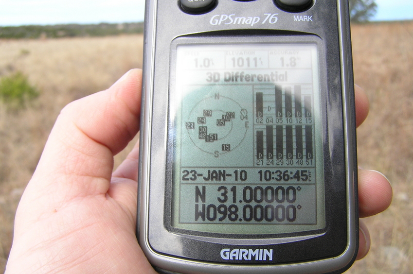 GPS reading with all 12 satellites in view under a Texas-sized sky.
