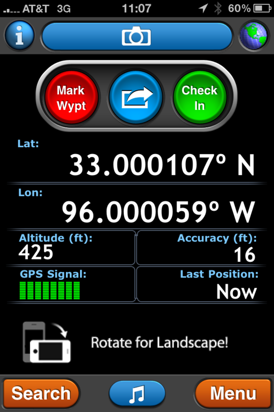 GPS reading at the confluence, from smartphone.