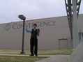 "#2: Joseph Kerski feeling doubly centered at the only confluence with the giant letters spelling ""Convergence."""