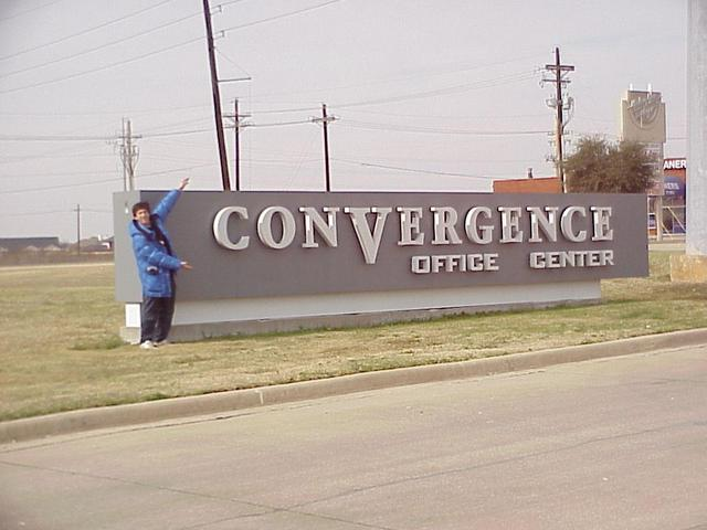 Joseph Kerski at the aptly named Convergence Office Center sign, about 300 meters north of the confluence.