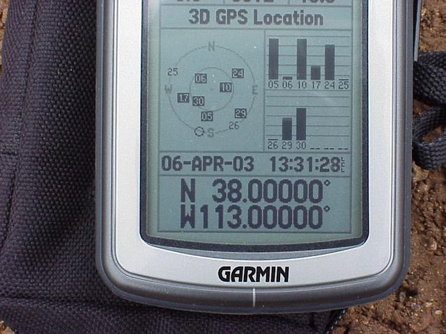 GPS reading at the confluence of 38 North, 113 West.