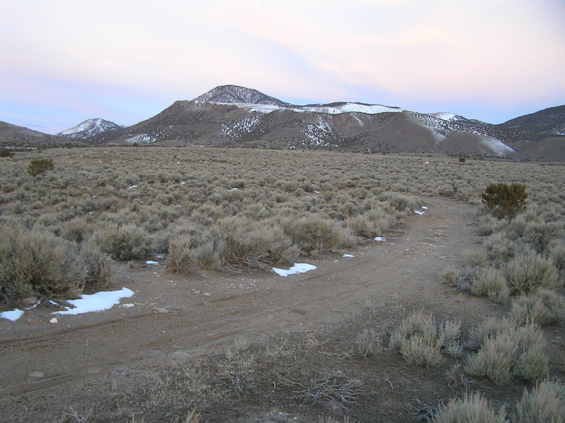 Site of 40 North 112 West, looking west.  The confluence lies 4 meters to the left of the trail, to the left of the lone tree in the center right of the photograph.