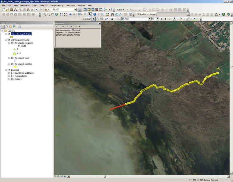 GPS track toward the confluence (yellow dot at left).  Looks like I only had 283 meters to go in order to reach dry ground, then 1 km to confluence.