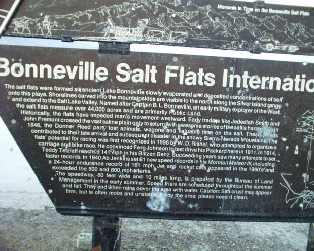 marker at the near-by Bonneville Salt Flats racing site