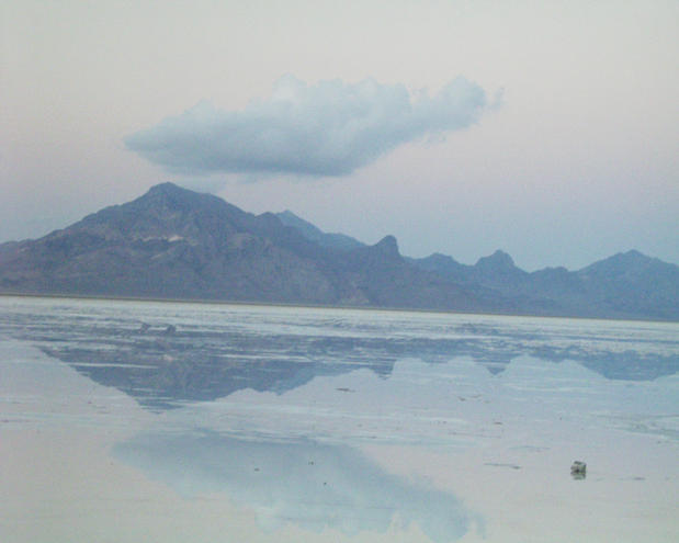 Bonneville Salt Flats - no salt today, just a lot of brackish water