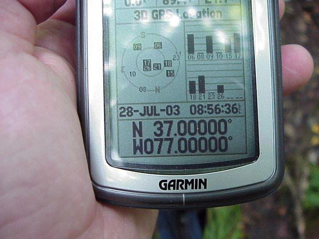 GPS receiver at the confluence after about 5 minutes of the confluence dance, to zero out the coordinates.