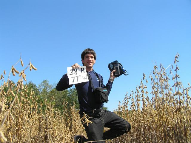 Joseph Kerski in the bean field at the confluence.