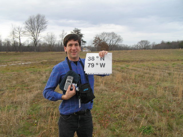 Joseph Kerski at the confluence of 38 North 79 West in Virginia.