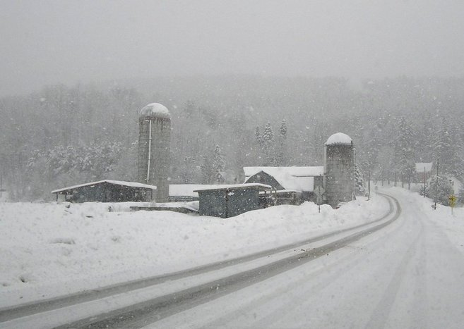 Vermont farm in the snowstorm