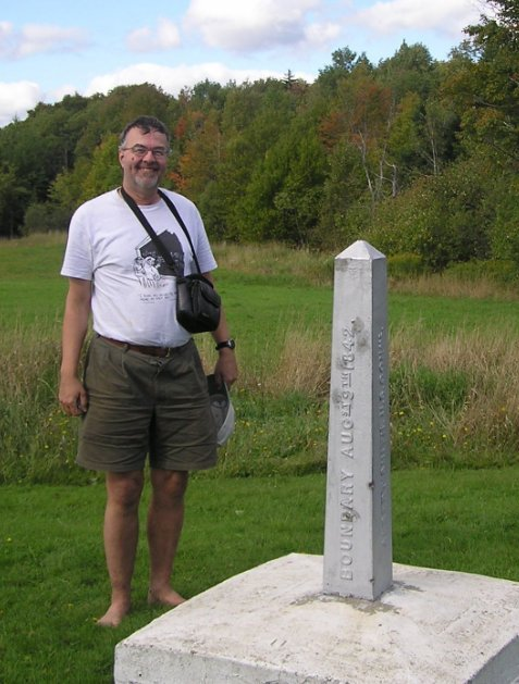 Border marker; we're in Canada, sans papiers