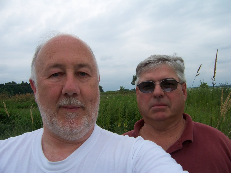 Dave (DCP Canadian Coordinator) and Ron (45N 73W Landowner) at the confluence