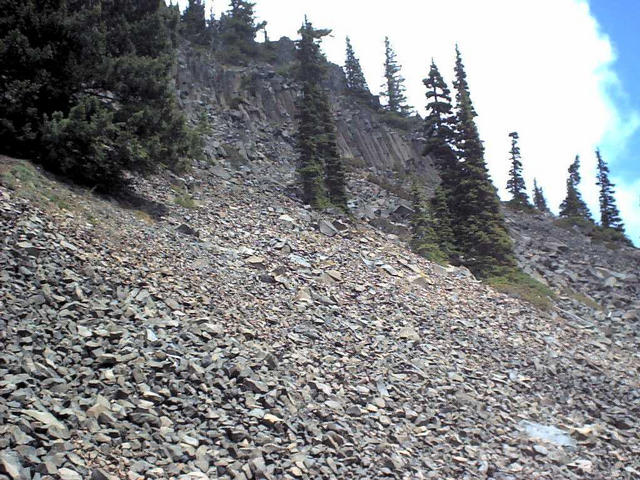 Scree slope and cliff, confluence point is just above