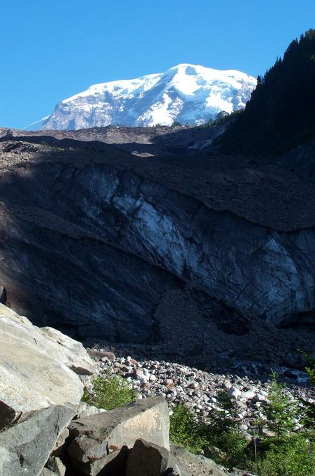 The mountain rises above the top of Carbon Glacier
