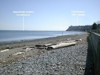 #1: Somewhere out there in the Pacific Ocean (Boundary Bay) is the confluence point, across from Point Roberts.