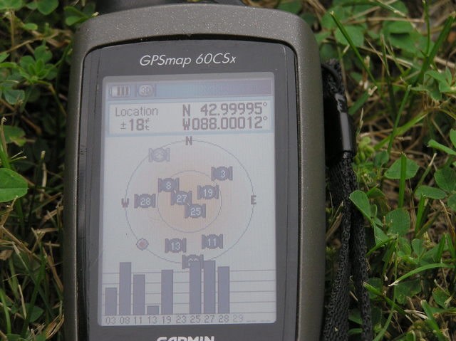 My GPS receiver, 37 feet from the confluence point