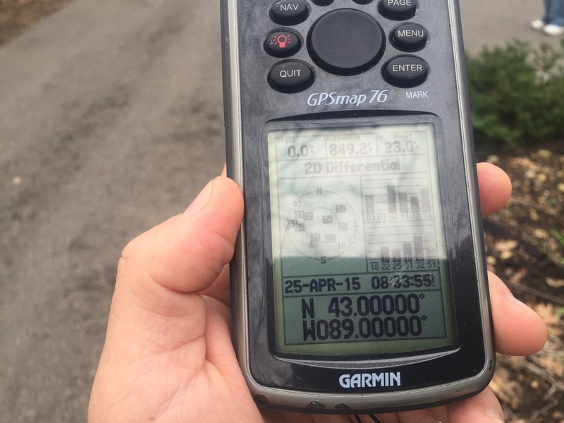 GPS reading at the confluence point.