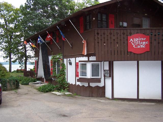 Alpine Village Cafe just North of confluence garage.