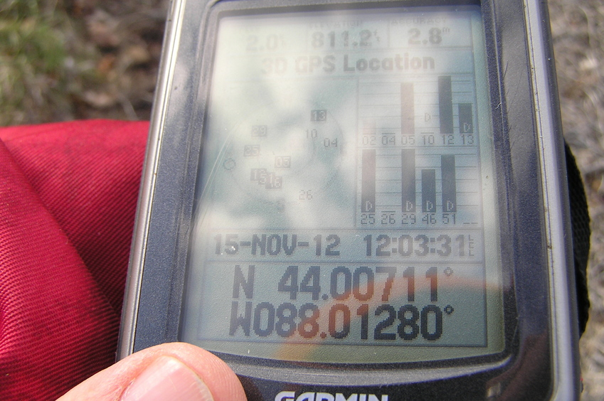 GPS reading near the closest approach to the confluence.