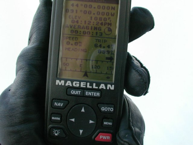 The Magellan GPS 315 reading.