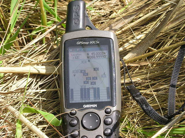 My GPS receiver, 95 feet from the confluence point