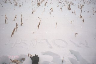 #1: Not much else to see, so we wrote in the snow.