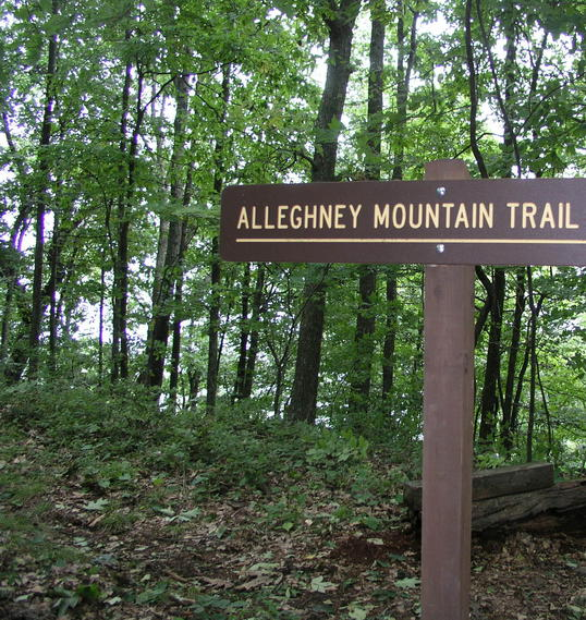 Spelling may not be the trail builders' strongest suit, along the Allegheny Trail.