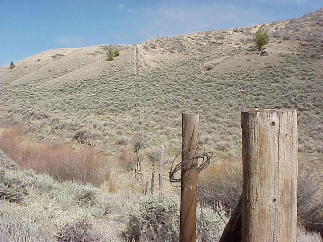 Looking east along the state line fence, with Wyoming on the left and Colorado on the right, 220 meters southwest of the confluence.