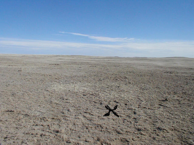 X Marks the spot (The wind would have blown away anything I would have put there!)