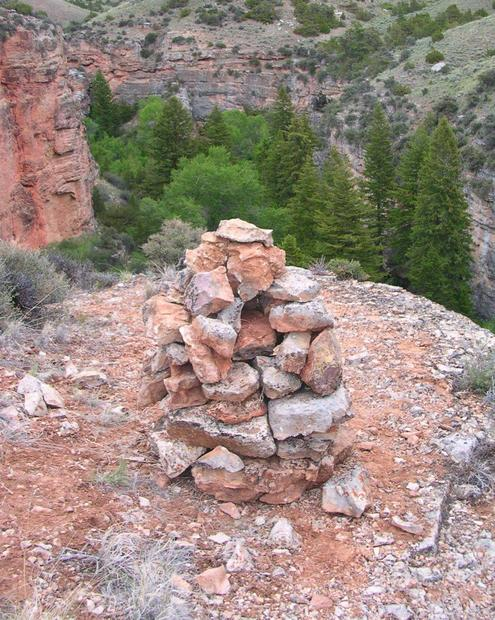 We constructed a small rock monument that we hope to someday recognize in a satellite image; we know it's quite unlikely.
