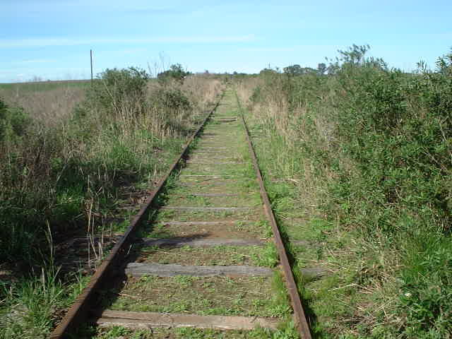 Railroad tracks go near the confluence