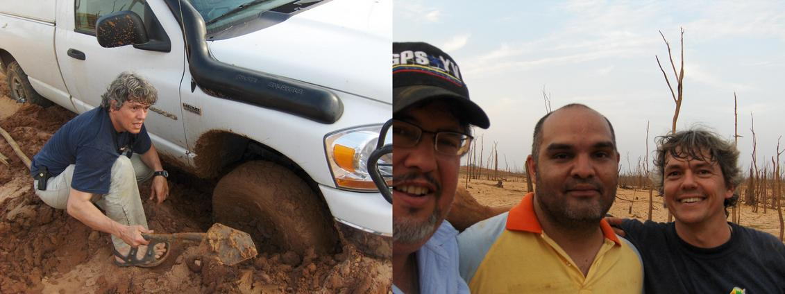 STUCK IN THE MUD ON THE FIRST INTENT AND ALFREDO, LEONARDO AND RAINER HAPPY AFTER TRUCK RELEASE