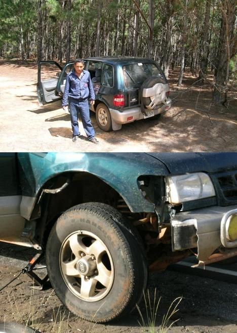 Expedition car with damages