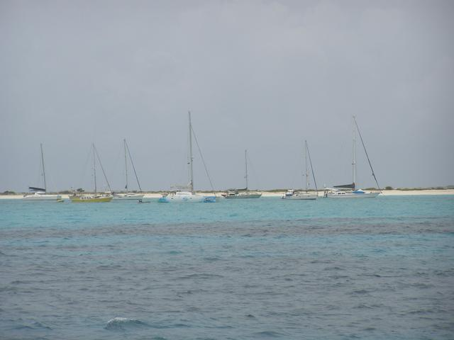 Sailboats anchored for safety at La Tortuga Island due to hurricane Felix alert