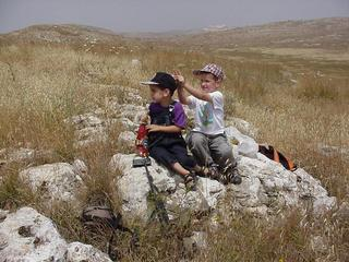 #1: Looking north from the Confluence (where we came from), Tal (right) and Omer (left)
