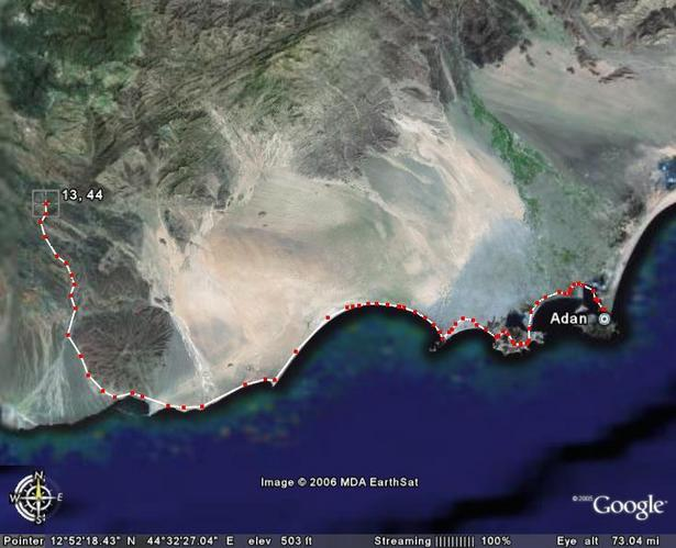 The route ((c) Google Earth satellite map)