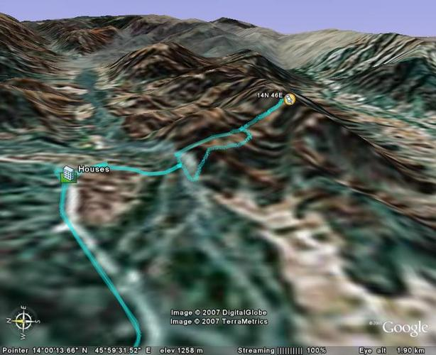 Google Earth (c) outline of the terrain and routes