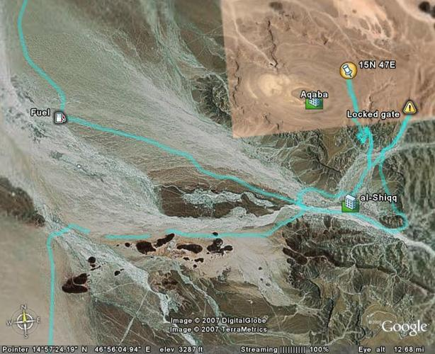 The route on Google Earth (c)