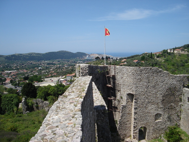 ruins of stari bar castle with the port in the background