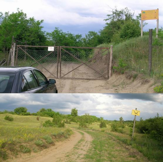 Gate at 44°57.7368m N, 20°58.209m E (4.8 km SSW) & track to WEST (2.6 km)